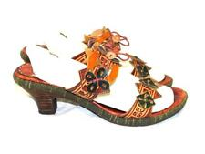 Spring Step 42 10.5 Brown Savory Leather Sandals Heels Slides Two Floral Straps
