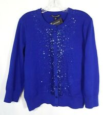 Cable Gauge Sweater Cardigan Womens XL Button Front Sequin Blue Jewel NEW $68