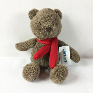 """TB6 Carters Brown Teddy Bear Red Scarf Holiday Plush 12"""" Stuffed Toy Lovey"""