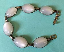 50's Antique Vtg Silver Tone Bezel Set multi Lucite White Moonstone Bracelet