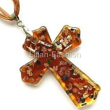 Gold Brown Cross Lampwork Glass Murano Bead Pendant Ribbon Wax Cord Necklace