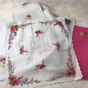 20 x Ladies Handkerchiefs Unused Clean Cotton Floral Pretty Cottagecore Y630