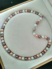"AAA+ 8mm 18"" south sea Multicolor shell pearl necklace"