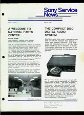 1983 Sony Service News Publication Featuring CDP-101 CD Player Concepts & More