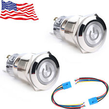 Lot2 19mm 12V Car Red LED Metal Push Button Toggle Switch Socket Plug For Car