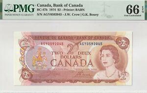 1974 Bank Of Canada 2 Dollar Note- Crow/ Bouey- PMG: UNC-66 GEM