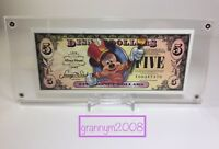 2008 Framed Disney Dollar With Stand $5 Mickey 80th Anniversary SN T00347370