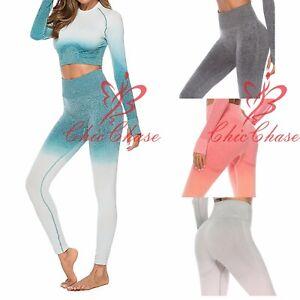UK Women's Ombre Seamless Gym Leggings Yoga Running Training Fitness Sportswear