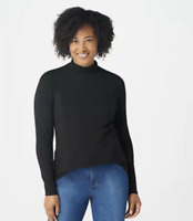 Isaac Mizrahi Live! Mock-Neck Long Sleeve Knit Top with Princess Seams - Black