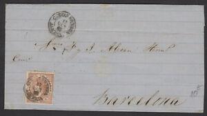 Espagne: Pli de 1868 en avec timbre 50 Mil de Esc Oblt petit CàDate CUEVAS DE VE