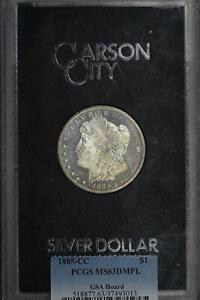 1885-CC GSAMorgan Dollar PCGS MS-63 DMPL With Original Box and Card