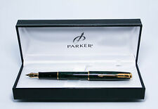 Parker Sonnet Forest Green & Gold Fountain Pen Med Pt New In Box Made In France