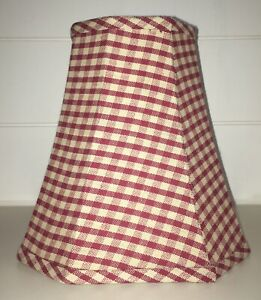 """8"""" Lampshade Checks Red Tan Country Farm House"""