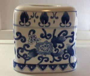 Blue And White Porcelain Lillian Vernon Tissue Cover Holder