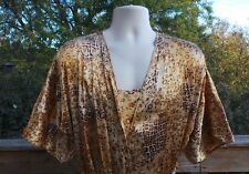 SECRET TREASURES Robe & Gown Brown Gold Florals Sz L  NEW Silkie Polyester