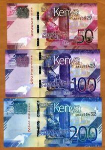 SET Kenya, 50;100;200 shillings, 2019, P-New, AA-Prefix, UNC > New Design