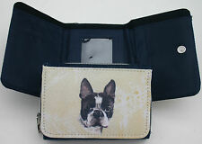 BOSTON TERRIER DOG DENIM BLUE FABRIC PURSE WALLET WATERCOLOUR PORTRAIT PRINT ART
