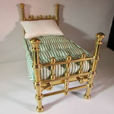 Artisan made OOAK rare doll house miniature child's brass bed & mattress ~ 1/12