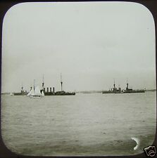 Glass Magic Lantern Slide BATTLESHIPS & YACHTS OFF SHORE C1900 IOW ? PHOTO