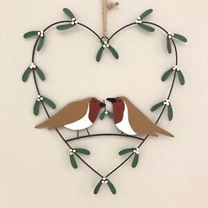 Love Heart shaped mistletoe & robin wreath Christmas decoration.Shoeless joe.