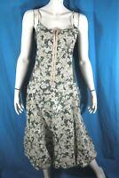 LULU H Taille M - 38 Superbe robe bretelles doublée gris vert foncé dress kleid