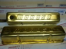Vintage Moroso Small Block Chevy Gold Anodized TALL VALVE COVERS 283 327 350 400