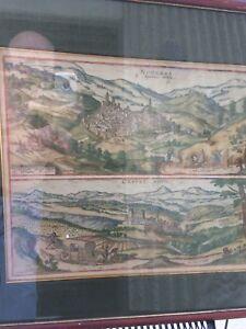 Antique map, Italian towns, 1577,hand colored, Arabic inscription, Hoefnagel