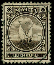 MALTA SG37, 1d on 2½d bright blue, used. Cat £16.