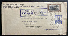 1941 Leopoldville Belgian Congo First Flight Airmail Cover Ffc To Miami Fl Usa