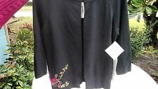 NWT'S  Joseph A.Black Silk Blend Knit Cardigan Sweater Ribbon Design Size L