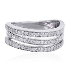 Christmas Gift 0.37ct Pave Diamond 18kt White Gold Designer Wrap Ring Jewelry