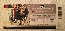 Pittsburgh Penguins v Carolina Ticket Stub 4/1/14 Featuring Marc Andre Fleury