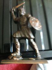 Vintage Bronze Figure Viking Warrior with Denmark badge