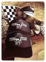 F* STOCK BLACK TRUCKER HAT Gambling skull biker motorcycle chopper vtg harley