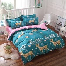 Deer Xmas Elk Gift Single Queen King Bed Set Pillowcase Quilt/Duvet Cover tbt