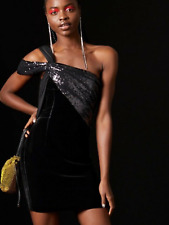 BNWT Topshop Halpern X Black Velvet Sequin Mini Dress UK 16 £95 Celebrity