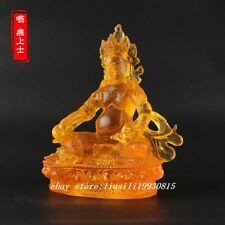 Tibetan Buddhism Hand made liuli colored glaze statue Yellow Jambhala