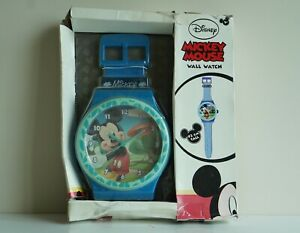 RARE Vintage Disney Mickey Mouse Blue GIANT WALL WATCH CLOCK - IN ORIGINAL BOX!