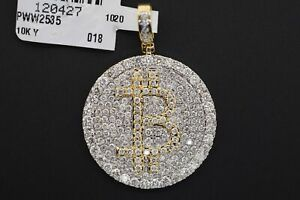 10K Solid Yellow Gold and SI Diamond 2.50 CT Bitcoin Currency Medallion Pendant