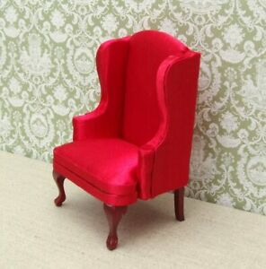 1:12 Dolls House Red High back Armchair