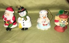 Vtg 4 Christmas Bells Ceramic Santa Snowman Bear Mother Goose Bells Jasco & more