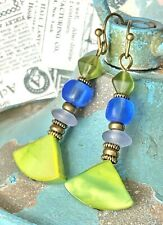 Bronze, Green Mother of Pearl and Beach Glass Earrings.