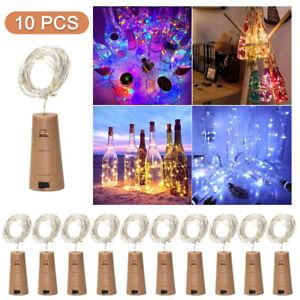 10PCS LED Fairy Light Wine Bottle String Lights Cork Copper Wire Christmas Decor