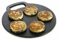Round Baking Stone/Cooking Griddle Welsh Cake Cooking Kitchen Cast Iron - 27 Cm