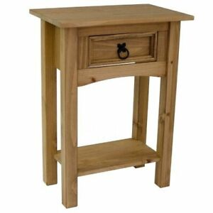 Tall Side Table Brown Solid Wood End Unit Telephone Stand Lamp Plant Display