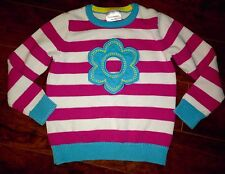 Girls Hanna Andersson Flower Sweater Size 110 Pink Stripes 4-5-6