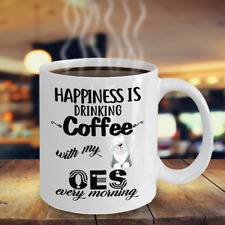 Coffee With English Sheepdog Mug, Oes White Coffee Mug, Oes Dog Accesstories