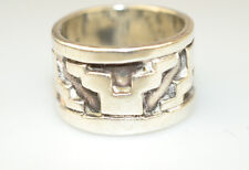 VINTAGE MEXICAN STERLING SILVER WIDE RING W/ AZTEC DESIGN SIGNED DPD SIZE 7 1/2