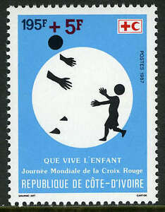 Ivory Coast B17, MI 949, MNH.Red Cross-Red Crescent.Child Survival Compaign,1987