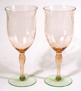 Vintage Lot 2 TIFFIN WATERMELON DEPRESSION Wine Glasses Water Goblets Pink Green